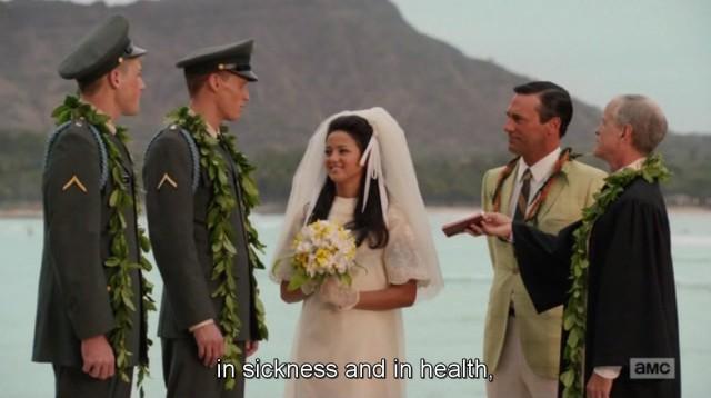 סצינת החתונה. שוב דון חי חיים של אחרים.
