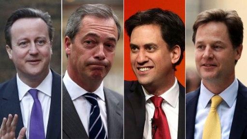 משמאל לימין: דיוויד קמרון (ראש הממשלה), נייג'ל פראג' (UKIP), אד מיליבנד (לייבור), ניק קלג (ליב דמס)