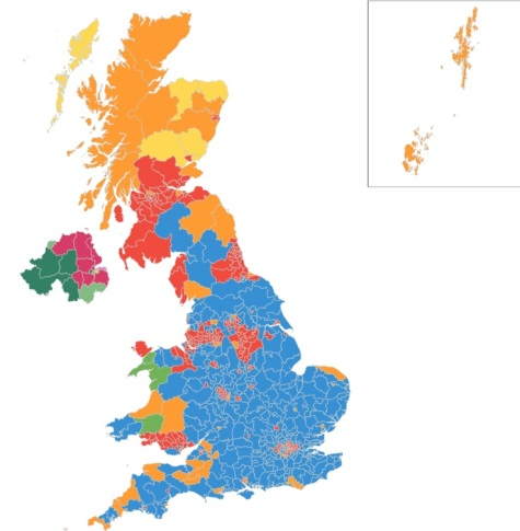 בכחול: מחוזות בהם ניצחו השמרנים